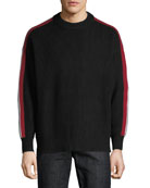 Men's Iowa Stripe-Sleeve Crewneck Sweater