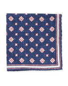 Medallion-Print Silk Pocket Square, Navy