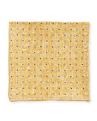 Dot Silk Pocket Square, Dark Yellow