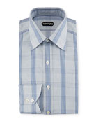 Plaid Cotton Dress Shirt, Blue