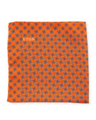 Neat Square Silk Pocket Square, Orange