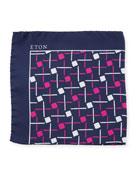 Open Ground Geometric Silk Pocket Square, Purple