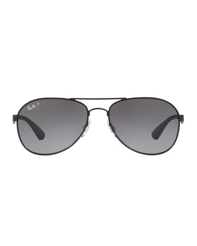 Men's Rubber/Metal Polarized Aviator Sunglasses