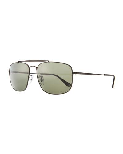 Men's Polarized Square Metal Aviator Sunglasses