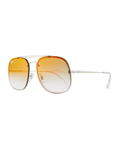 Square Mirrored Gradient Metal Aviator Sunglasses