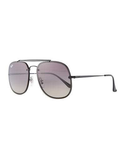 Square Gradient Metal Aviator Sunglasses