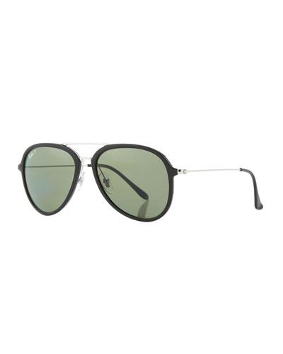 Men's Polarized Propionate Aviator Sunglasses, Black