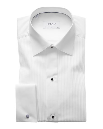 Slim-Fit Pleated Bib Formal Shirt