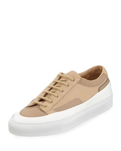 Men's Achilles Super Platform Leather Low-Top Sneakers, Beige
