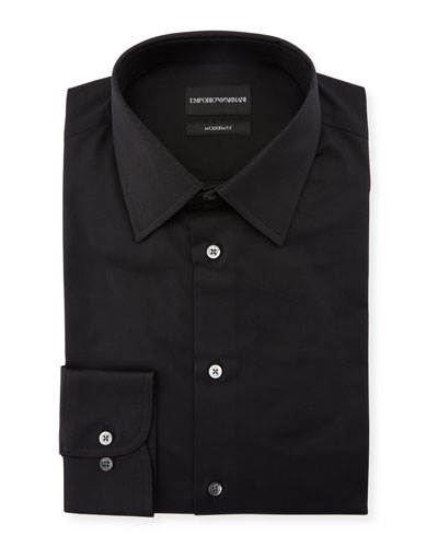Men's Modern-Fit Cotton-Stretch Dress Shirt, Black