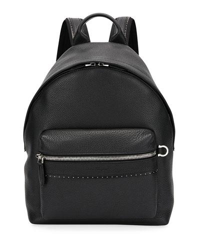 Men's Firenze Grained Leather Backpack, Black