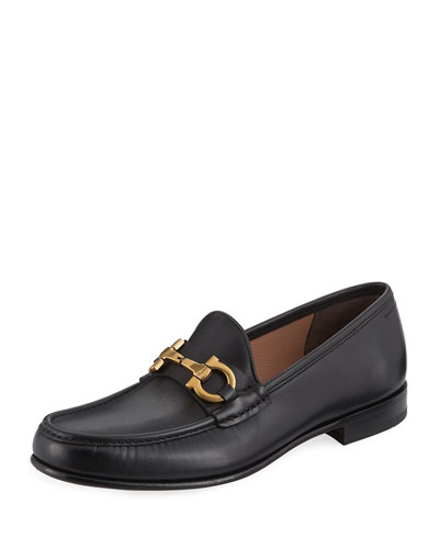 Men's Leather Vintage Gancini Loafer, Black