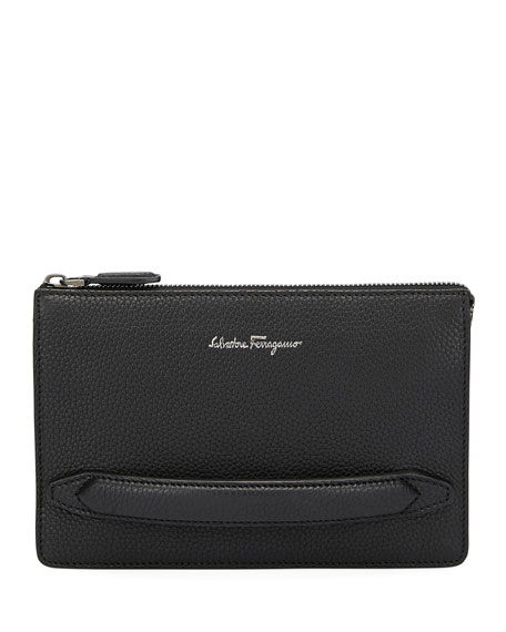 Salvatore Ferragamo Men's Firenze Leather Pouch with Handle