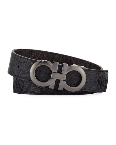 Men's Double-Gancio Stamped Leather Belt
