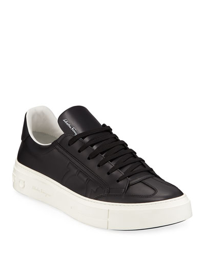 Men's Borg Leather Low-Top Sneakers, Black