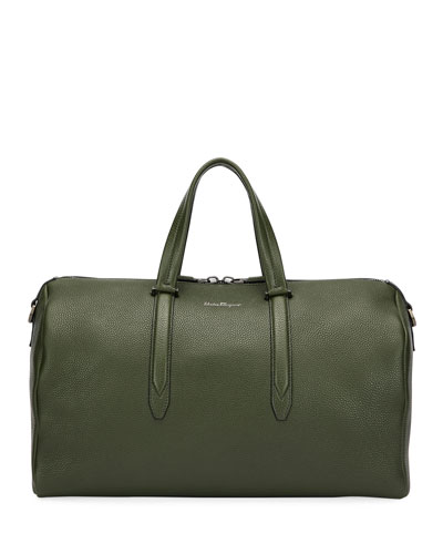 Men's Firenze Leather Weekender Duffel Bag, Green