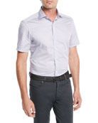Ermenegildo Zegna Men's Woven Micro-Dot Cotton Short-Sleeve Shirt