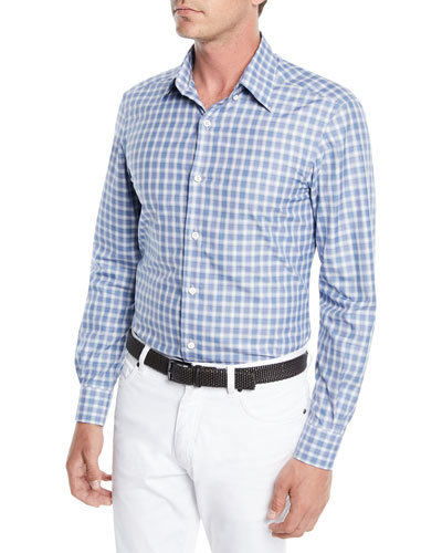 Men's Textured Woven Check Sport Shirt