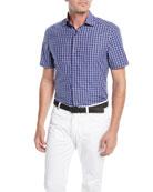 Ermenegildo Zegna Men's Mid-Check Short-Sleeve Sport Shirt