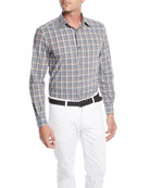 Ermenegildo Zegna Men's Woven Large-Plaid Cotton Sport Shirt