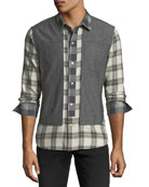 Plaid Shirt with Vest Overlay