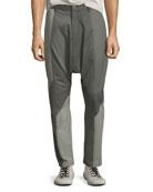 Men's Multicolor Mixed-Media Drop-Crotch Pants