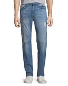 Men's Soder Slim-Straight Distressed Jeans, Crane