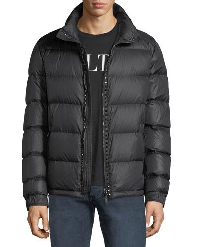 Men's Rockstud Hooded Puffer Jacket