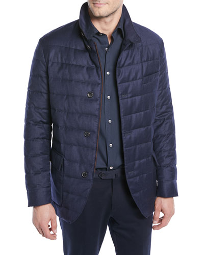 Men's Quilted Roadster Button-Front Jacket