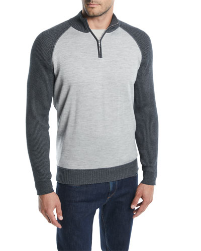 Men's Cashmere-Cotton Half-Zip Sweater