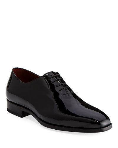 Men's One-Piece Patent Leather Oxford Shoe, Black