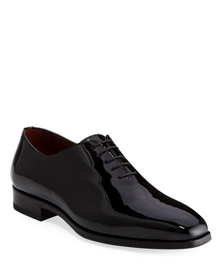 Magnanni for Neiman Marcus Men's One-Piece Patent Leather Oxford Shoe, Black