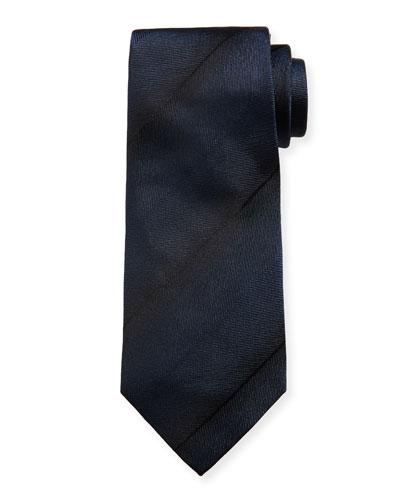 Faded-Stripe Silk Tie, Navy