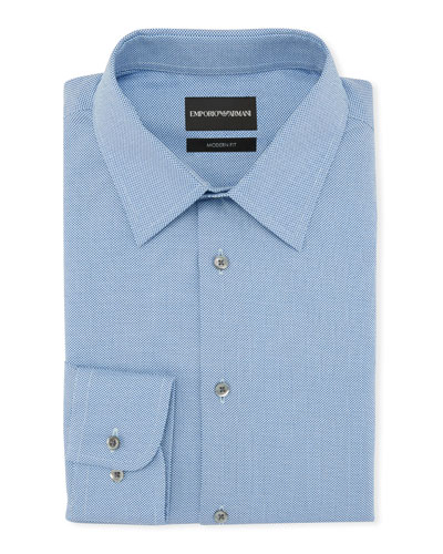 Men's Modern Fit Textured Neat Cotton Dress Shirt