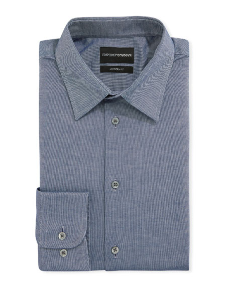 Emporio Armani Men's Modern-Fit Stretch Chambray Dress Shirt