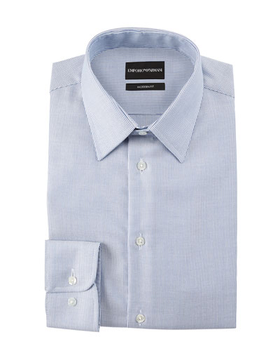 Men's Modern Fit Micro-Stripe Cotton-Blend Dress Shirt
