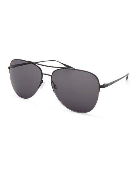 Barton Perreira Men's Chevalier Satin Aviator Sunglasses