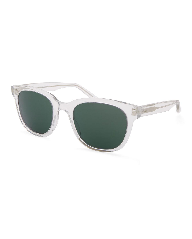 BARTON PERREIRA Men'S Thurston Plastic Square Sunglasses in Crystal Grey