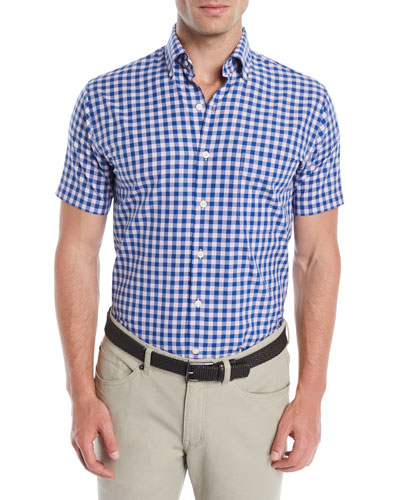 e183883c7be3 Quick Look. Peter Millar · Men's Crown Finish Check Short-Sleeve Sport Shirt.  Available in Blue