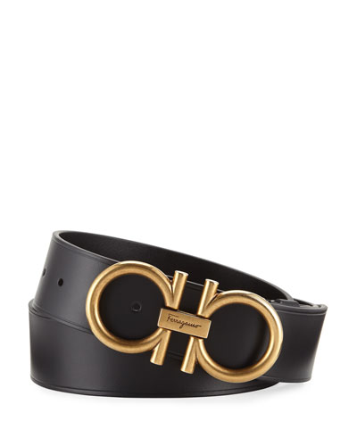 Men's Double-Gancio Runway Leather Belt