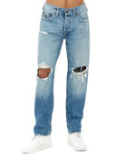 Men's Geno Flap-Pocket Distressed Slim-Straight Jeans