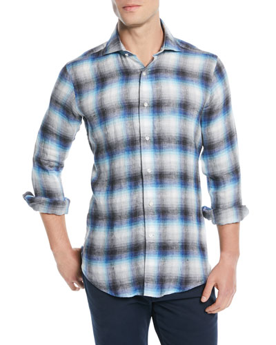 Bisti Brushed Linen Plaid Sport Shirt