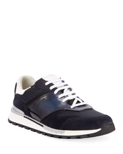 Men's Suede/Leather Low-Top Runner Sneakers, Navy