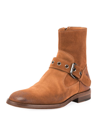 Men's Suede Monk Buckle Boot