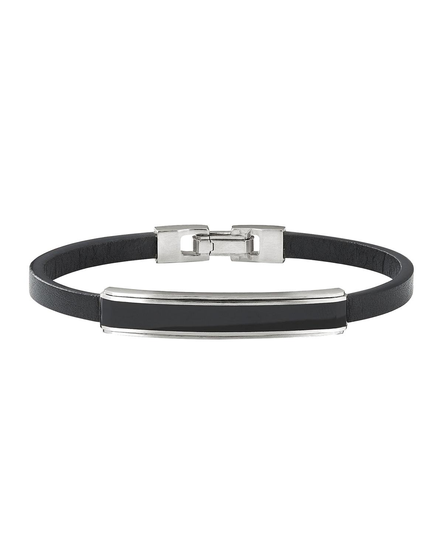 Men's 8.5mm Deco Stone ID Leather Bracelet