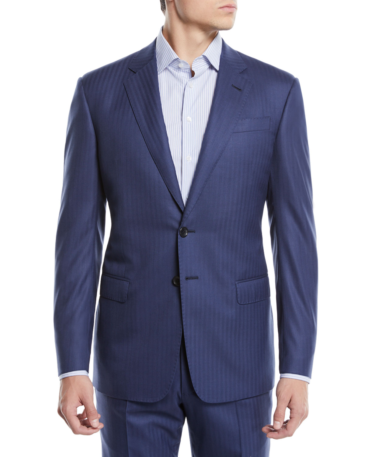 Men's Two-Piece Herringbone Super 180s Wool Suit