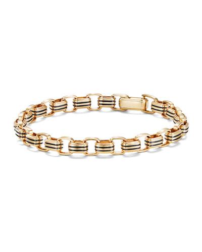 Men's 5mm 18k Gold Southwest Link Bracelet, Size M
