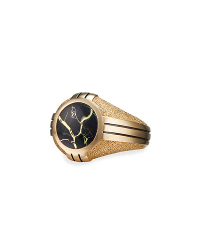 Men's Southwest 18k-Gold Signet Ring w/ Black Quartz Inlay