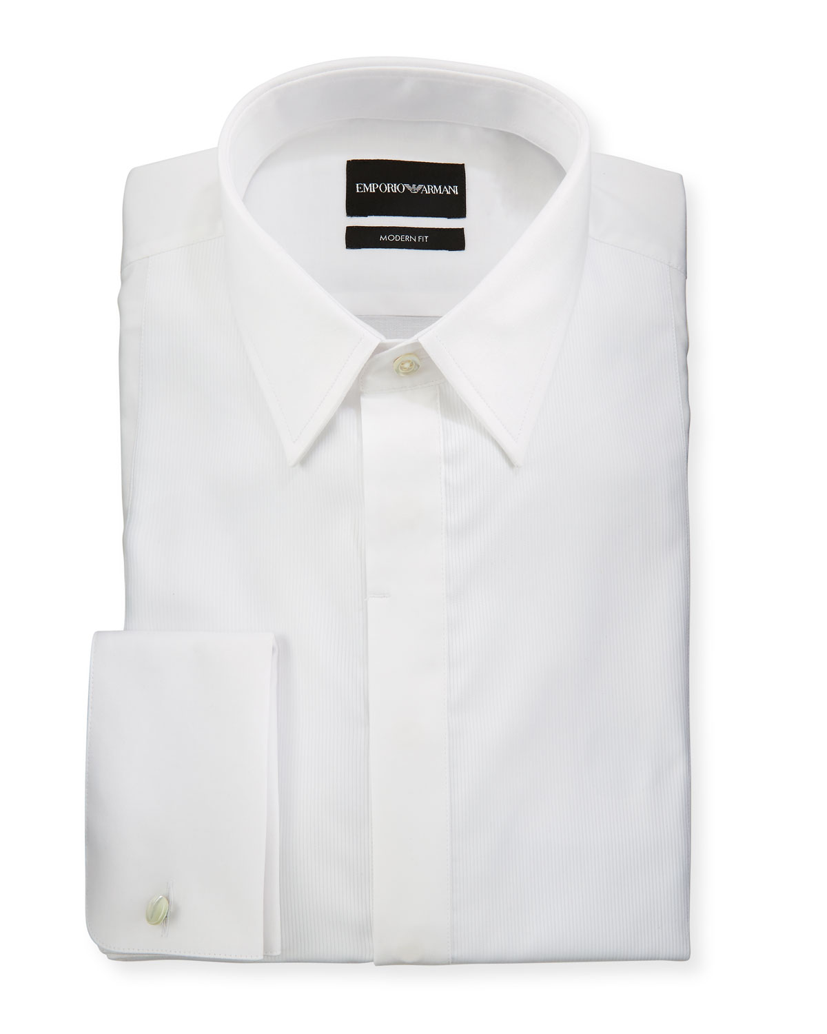 Men's Modern Fit Basic Tuxedo Shirt with Point Collar & French Cuffs