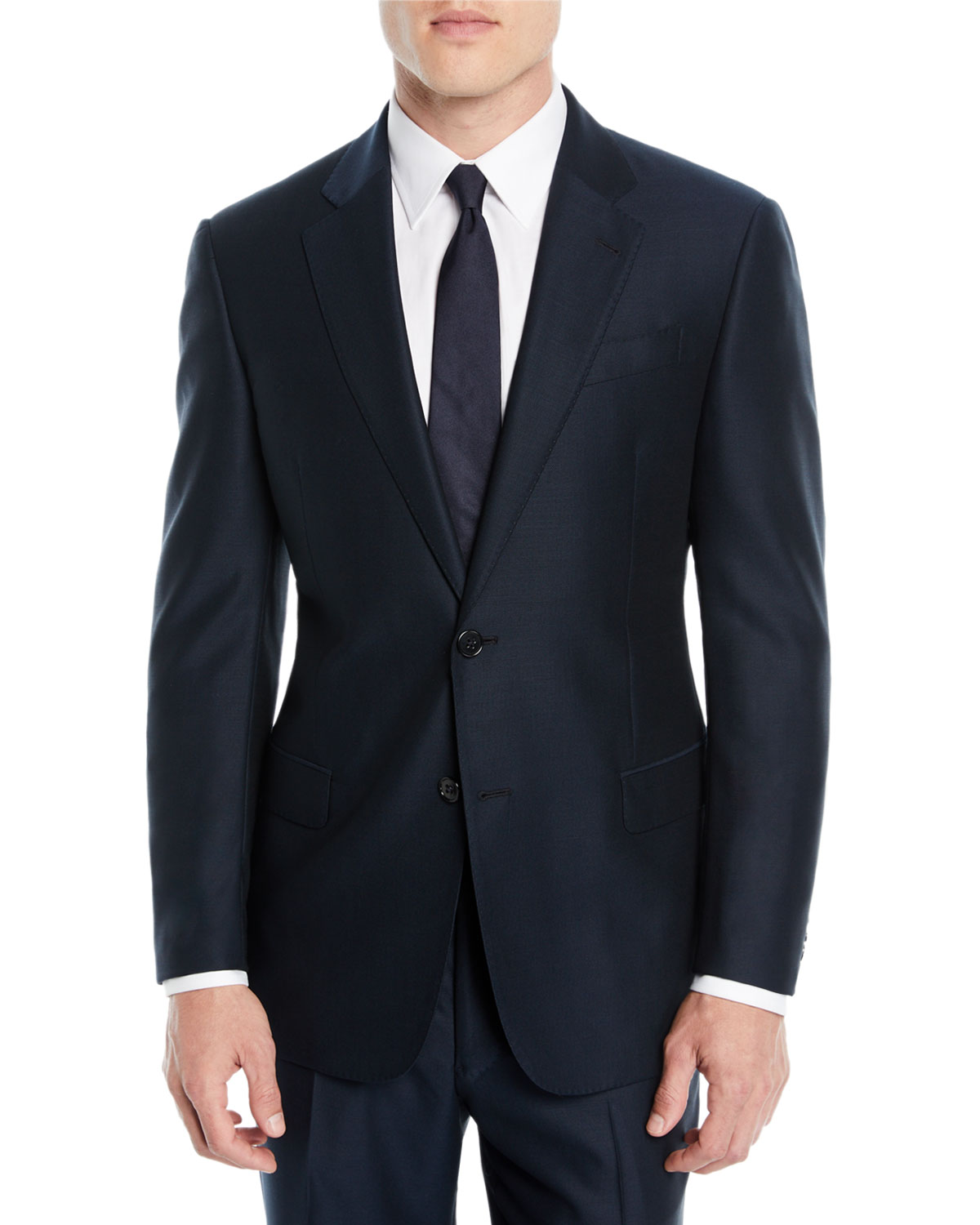 Men'S Solid Wool Two-Piece Suit, Teal